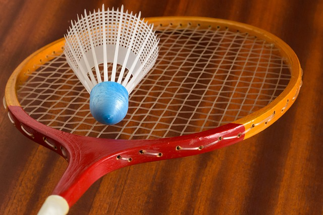 A wooden racket and a plastic shuttlecock is shown.