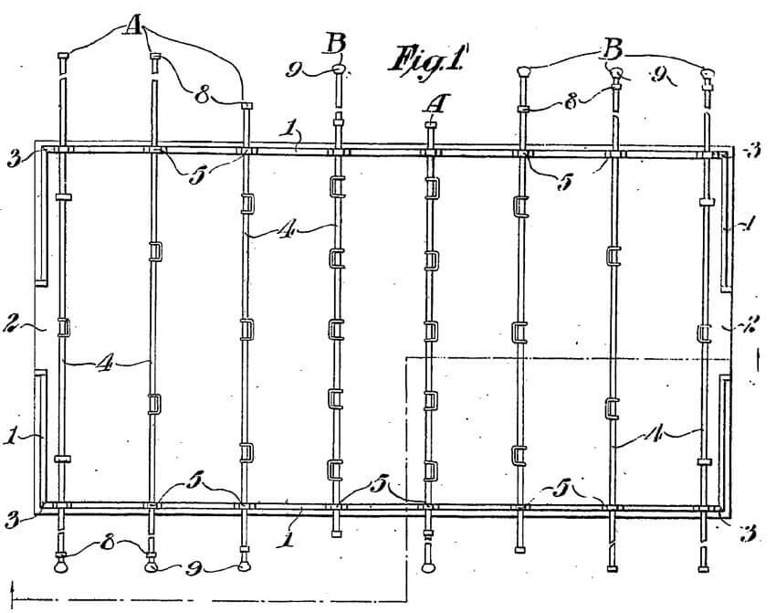 Part of the original Foosball table patent granted to Harold Searles Thornton in 1923